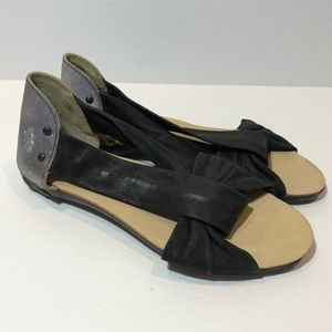 Fly London Leather Sandals Black Silver Size 37